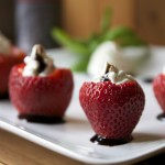 Basil Whipped Goat Cheese Stuffed Strawberries with Balsamic Glaze