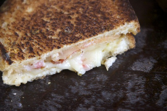 Peach Port Salut and Pepper Jack Grilled Cheese Sandwich